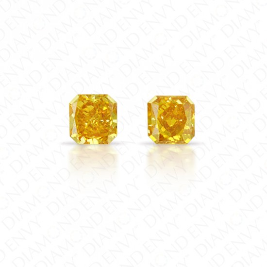 0.38 Total Carat Weight Radiant Cut Pair of Fancy Deep Orangey Yellow Diamonds