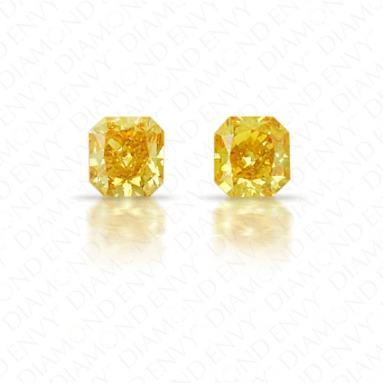 0.36 Total Carat Weight Radiant Cut Pair of Fancy Deep Orangey Yellow Diamonds