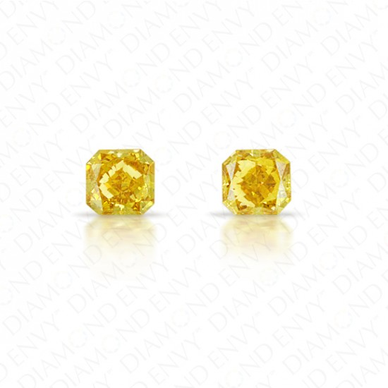 0.38 Total Carat Weight Radiant Cut Pair of Fancy Deep Brownish Orangey Yellow Diamonds