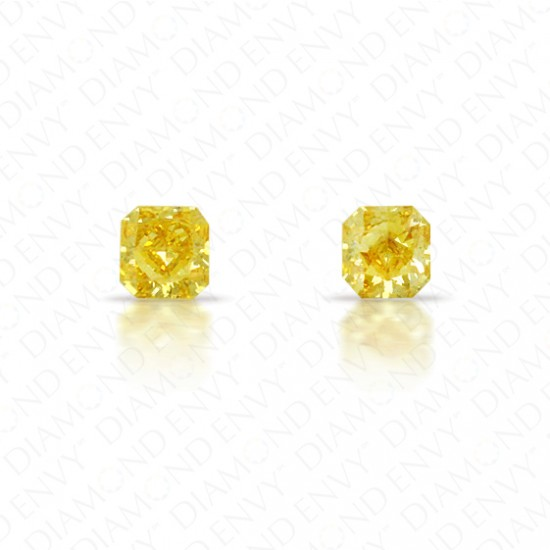 0.26 Total Carat Weight Radiant Cut Pair of Fancy Deep Orangey Yellow Diamonds