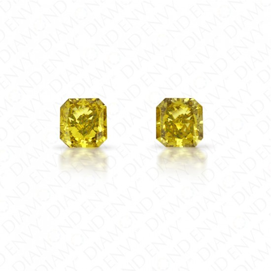 0.48 Total Carat Weight Radiant Cut Pair of Fancy Deep Brownish Greenish Yellow Diamonds