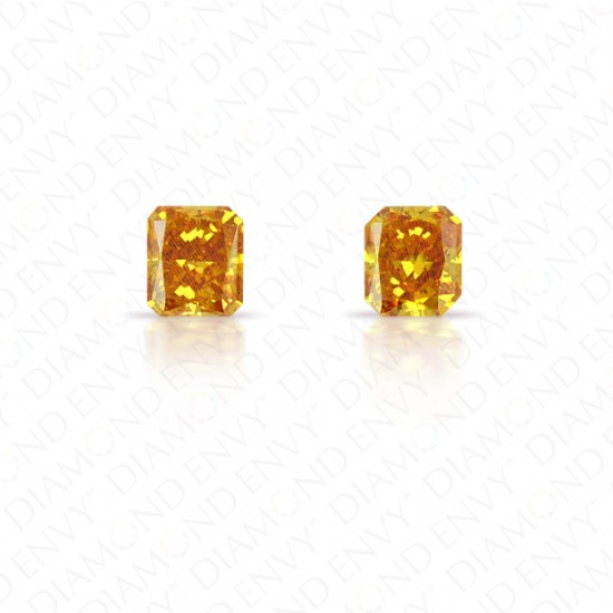 0.42 Total Carat Weight Radiant Cut Pair of Fancy Vivid Yellowish Orange Diamonds