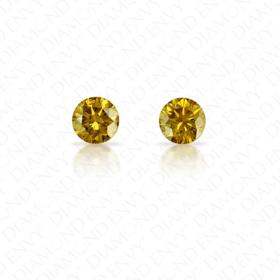 0.56 Total Carat Weight Round Brilliant Pair of Fancy Dark Brownish Greenish Yellow Diamonds