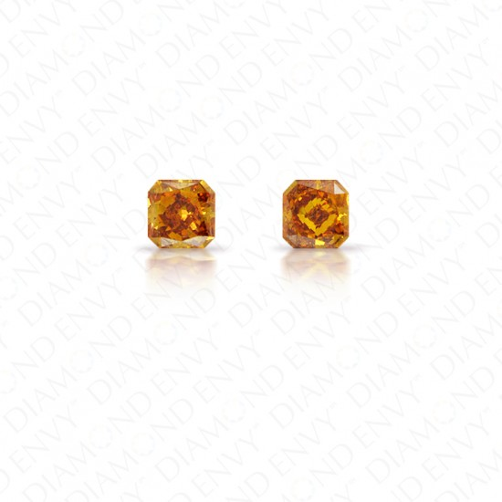 0.43 Total Carat Weight Radiant Cut Pair of Fancy Deep Brownish Yellowish Orange Diamonds
