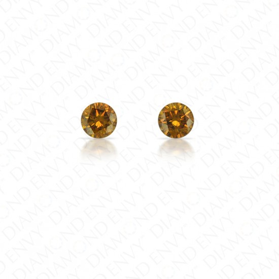 0.26 Total Carat Weight Round Brilliant Pair of Fancy Dark Brownish Orange Diamonds