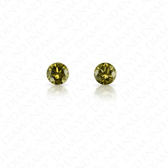 0.27 Total Carat Weight Round Brilliant Pair of Fancy Dark Grayish Yellowish Green Diamonds