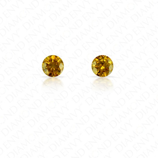 0.25 Total Carat Weight Round Brilliant Pair of Fancy Deep Brownish Orangey Yellow Diamonds