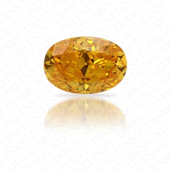 0.15 Carat Oval Natural Fancy Vivid Orangy Yellow Diamond