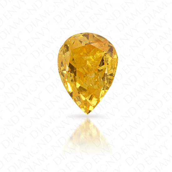 0.24 Carat Pear Shape Natural Fancy Vivid Orangy Yellow Diamond