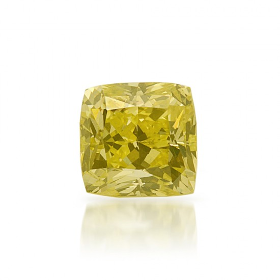 0.51 Carat Princess Cut Natural Fancy Intense Greenish Yellow Diamond