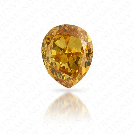 0.34 Carat VS1 Pear Shape Natural Fancy Intense Orangy Yellow Diamond