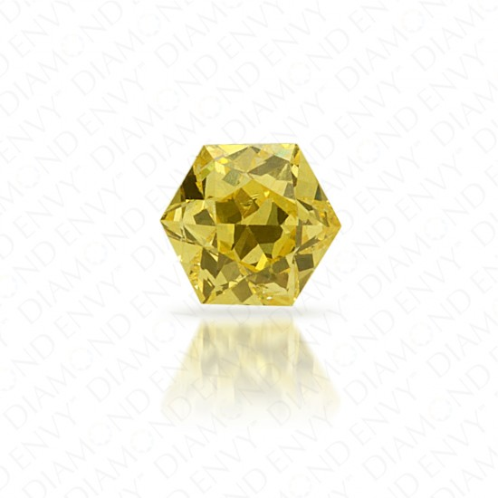 0.16 Carat Hexagonal Natural Fancy Intense Yellow Diamond