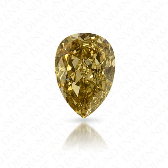 0.15 Carat Pear Shape Natural Fancy Greenish Yellow Diamond