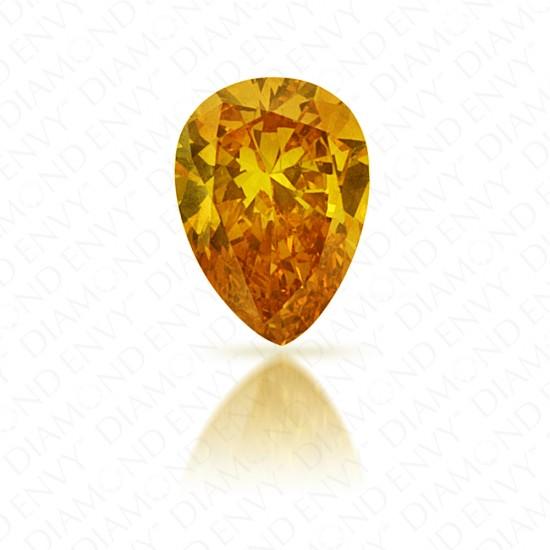 0.19 Carat Pear Shape Natural Fancy Intense Orange-Yellow Diamond