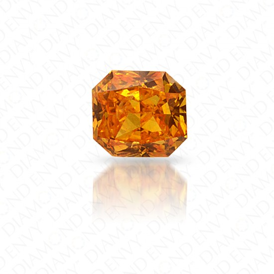 0.18 Carat Radiant Cut Natural Fancy Vivid Yellowish Orange Diamond