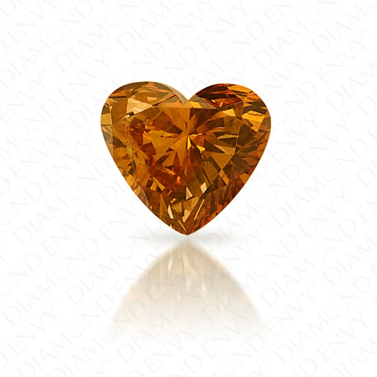 0.66 Carat Heart Shape Natural Fancy Deep Yellow-Orange Diamond