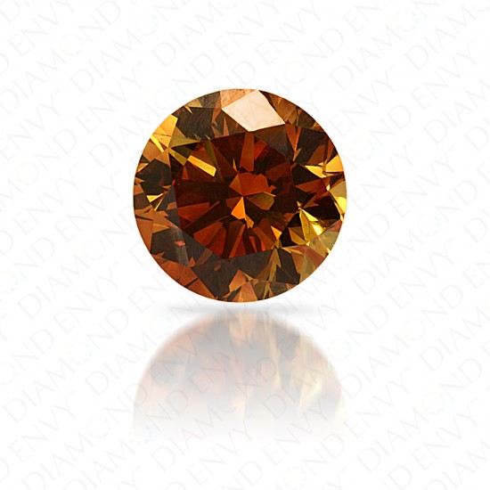 1.29 Carat Round Brilliant Fancy Deep Yellow Orange Diamond