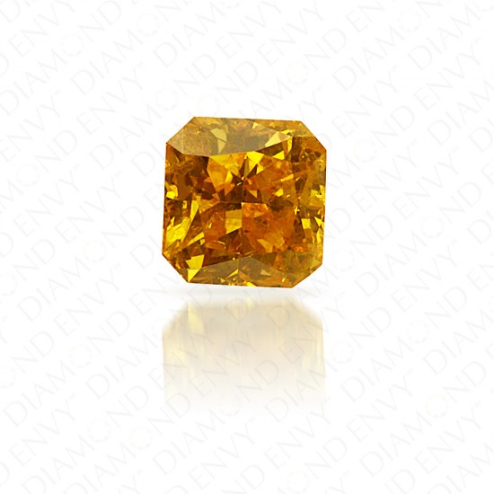0.39 Carat Radiant Fancy Vivid Orange Yellow Diamond