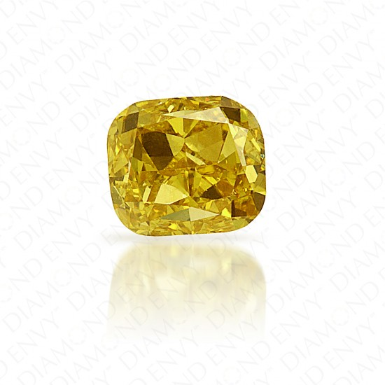 0.59 Carat Cushion Natural Fancy Deep Yellow Diamond