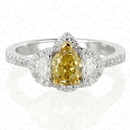 1.58 Carat Fancy Deep Yellow Diamond Ring in 18K Two-Tone Gold