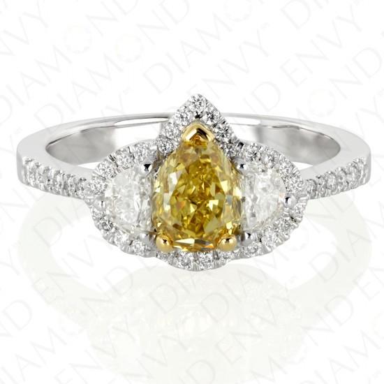 1.58 Carat Fancy Deep Yellow Diamond Ring in 18K Two-Tone Gold