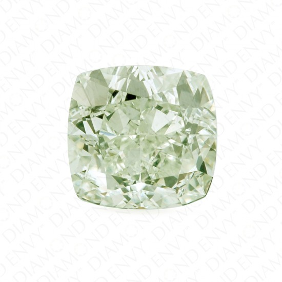 0.63 Carat VVS2 Cushion Natural Fancy Light Yellowish Green Diamond