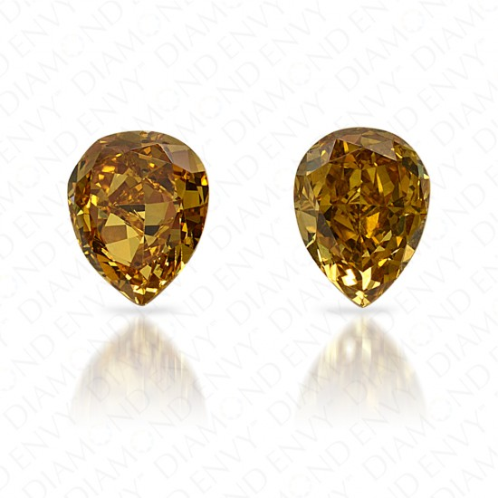 0.78 Total Carat Weight Pear-Shaped Pair of Fancy Vivid Brownish Greenish Yellow Diamonds