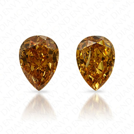 0.87 Carat Total Weight Pear-Shaped Pair of Natural Fancy Vivid Brownish Orangy Yellow Diamonds