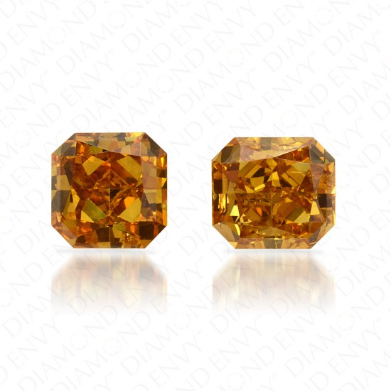0.74 Total Carat Weight Radiant Cut Pair of Fancy Vivid Brownish Yellow Diamonds