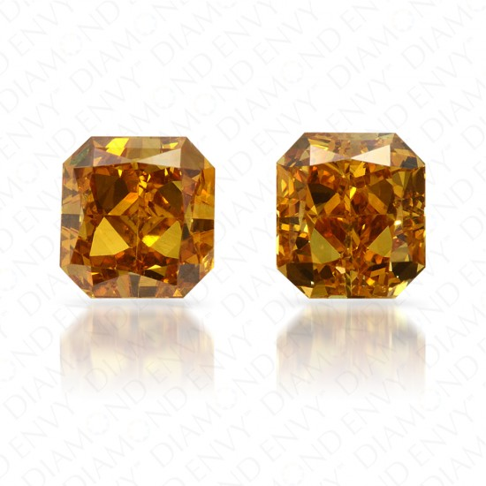 1.02 Total Carat Weight Radiant Cut Pair of Fancy Deep Brownish Orangy Yellow Diamonds