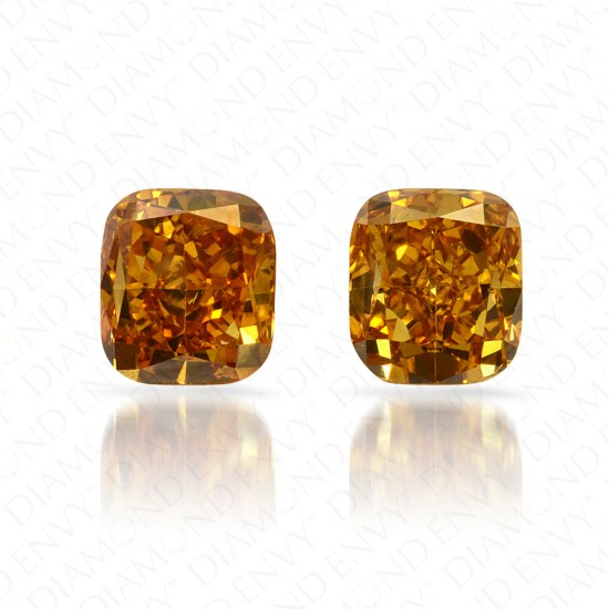 1.09 Total Carat Weight Cushion Cut Pair of Deep Brownish Orangy Yellow Diamonds