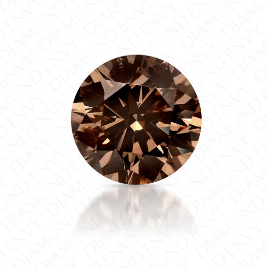 1.34 Carat Round Brilliant Fancy Dark Yellowish Brown Diamond