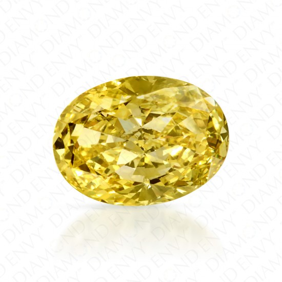 0.51 Carat Oval Natural Fancy Intense Yellow Diamond