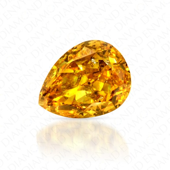 0.60 Carat Pear Shape Fancy Vivid Orangy Yellow Diamond