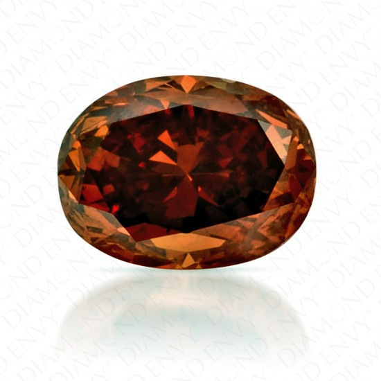 0.66 Carat Oval Fancy Deep Brownish Orange Diamond