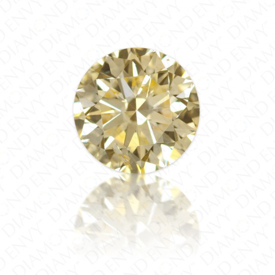 0.54 Carat Round Brilliant Fancy Light Orangy Yellow Diamond