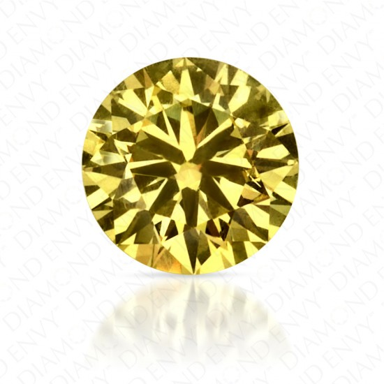 0.41 Carat Round Brilliant Natural Fancy Intense Yellow Diamond