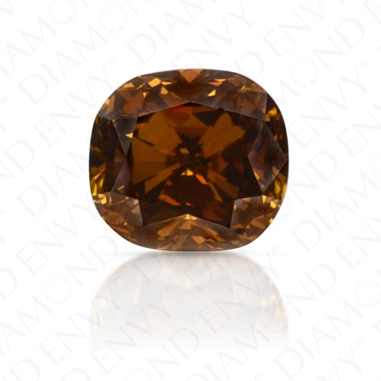 0.56 Carat Cushion Cut Fancy Deep Yellow Brown Diamond