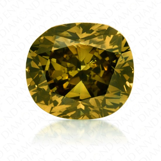 0.52 Carat Cushion Cut Fancy Deep Brownish Greenish Yellow Diamond