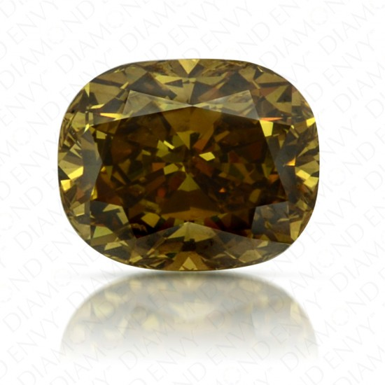 0.60 Carat Cushion Cut Fancy Deep Brownish Greenish Yellow Diamond