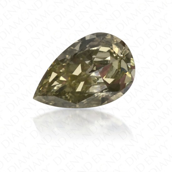 0.55 Carat Pear Shape Fancy Deep Greyish Yellowish Green Diamond