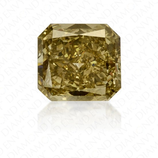 1.47 Carat Fancy Brownish Greenish Yellow Diamond Ring in 18K Two-Tone Gold