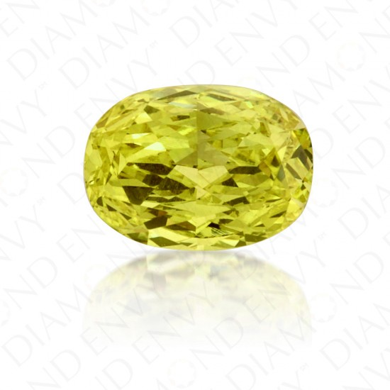 0.51 Carat Oval Fancy Vivid Yellow Diamond