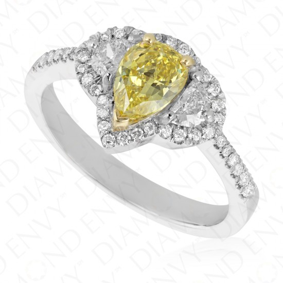 1.36 Carat Fancy Intense Yellow Diamond Ring in 18K White Gold