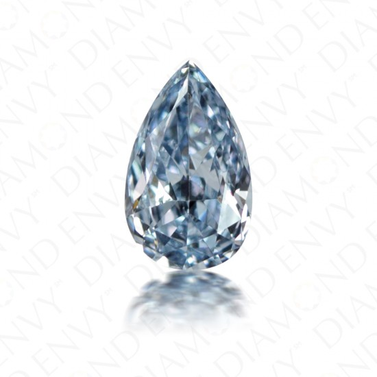 0.14 Carat Pear Shape Fancy Intense Blue Diamond