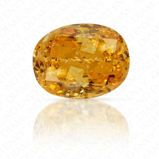 0.36 Carat Oval Fancy Intense Orange Yellow Diamond