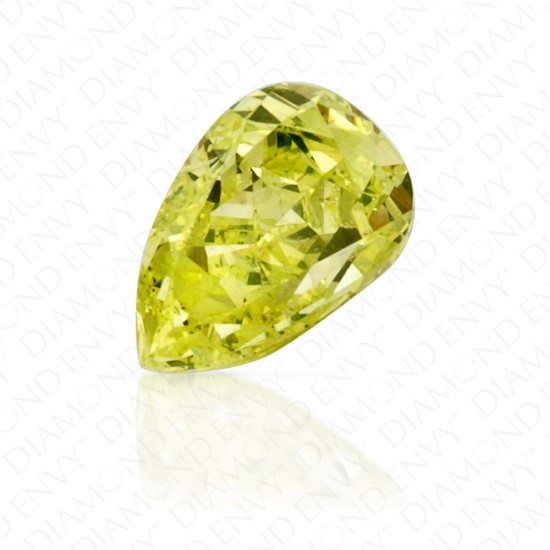 0.51 Carat Pear Shape Fancy Intense Green Yellow Diamond