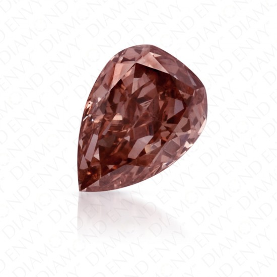 0.37 Carat Pear Shape Fancy Deep Brownish Orangy Pink Diamond