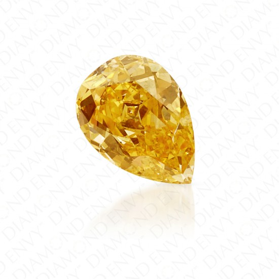 0.66 Carat Pear Shape Natural Fancy Intense Orangy Yellow Diamond
