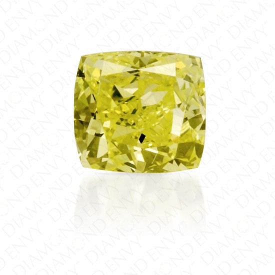 0.46 Carat Cushion Fancy Intense Yellow Green Diamond